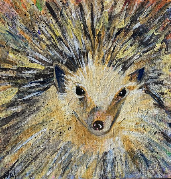Hedgie painted by Artist Kimberly Heil
