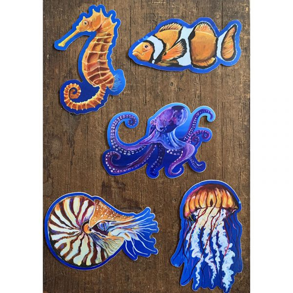 Ocean Animals Pack of Stickers - Designed by Artist Kimberly Heil