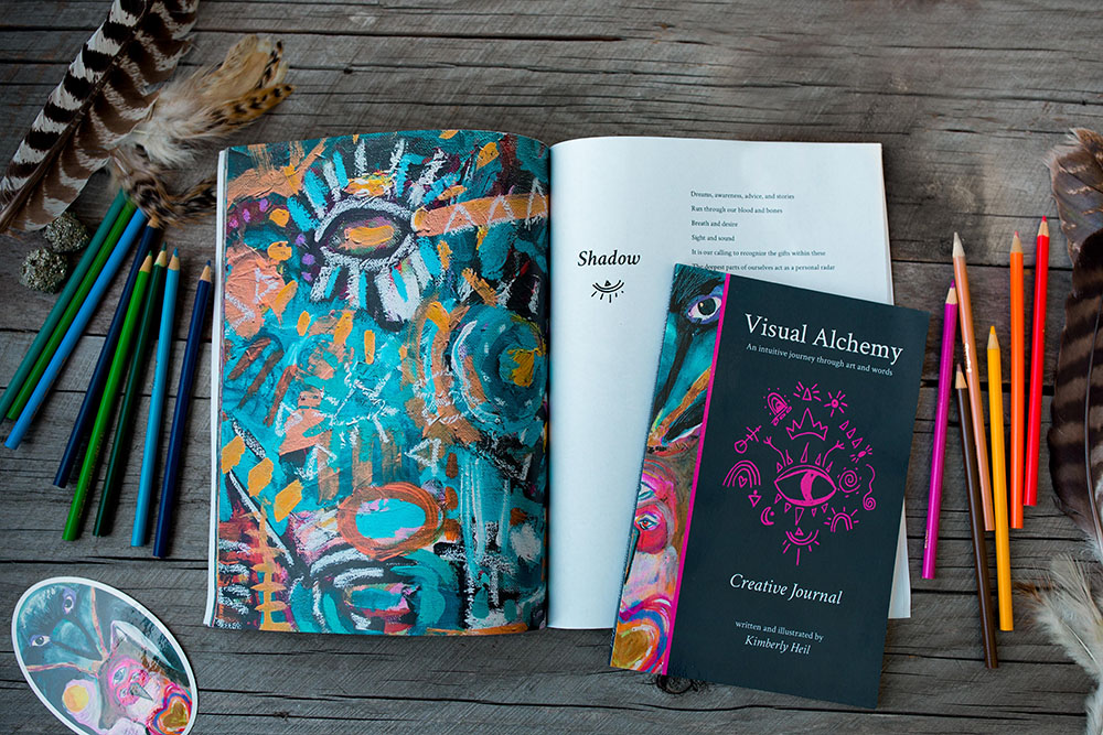 Open Visual Alchemy textbooks colored pencils and stickers