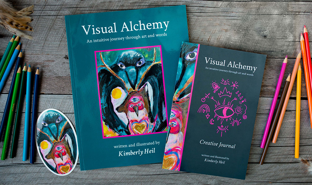 Visual Alchemy textbooks colored pencils and stickers